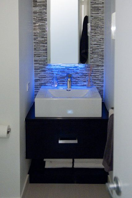 Blue led strip light over sink for Bathroom strip light
