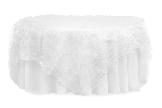 """Ruffled Sheer Organza Table Overlay Topper 85""""x85"""" Square - White ● $54.99 ● Available from www.cvlinens.com"""