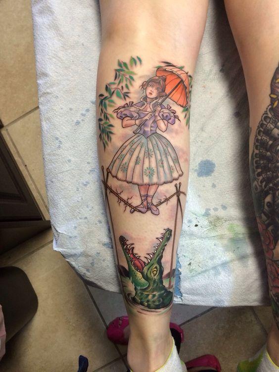 Disney Haunted Mansion girl with parasol over alligator by Pooka at Ocho Placas Tattoo Company; Miami, FL.