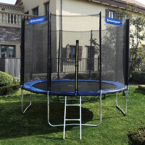Junior Kid 5 Backyard Above Ground Trampoline With Safety Enclosure Backyard Play In Ground Trampoline Backyard Trampoline