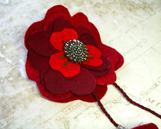Burgundy red satin and felt brooch pinred felted brooch by fraline, €15.01