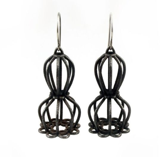 Jill Baker Gower, 3D Doily Dangle, Oxidized steel, bronze Infused, argentium sterling silver: