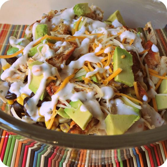 Chicken Burrito Bowl. brown rice (quinoa), black beans, corn, salsa, grilled chicken, shredded cheese, fresh avocado.