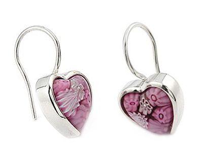 Millefiori Murano Pink Glass Heart Earrings in Sterling Silver