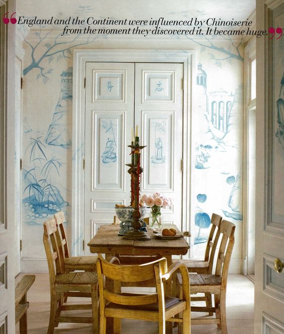 Thomas Britt's hand painted blue and white chinoiserie walls.: