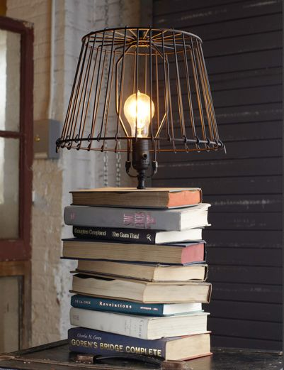 Make a lamp with those old books.  HGTV tells you how.  This project is pretty simple, and what a unique accessory for your home.  Customize with book cover colors that coordinate with your home de...