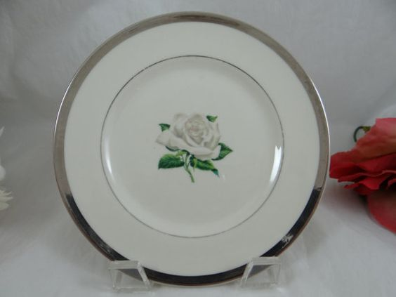 Manchester Fine China White Rose Bread and by SecondWindShop