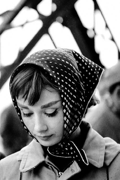 Audrey Hepburn on the set of Funny...