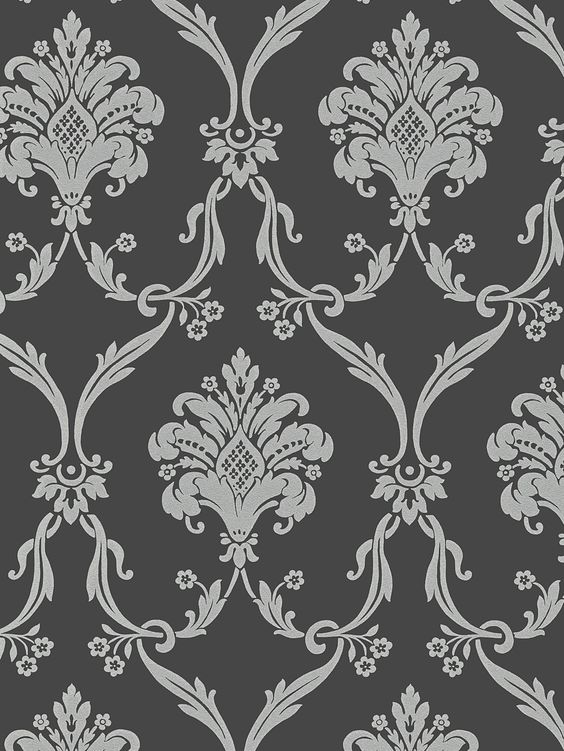 Best Silver On Dark Gray Victorian Damask Wallpaper Random 400 x 300