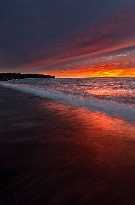 Sunset in Lake Superior, United States