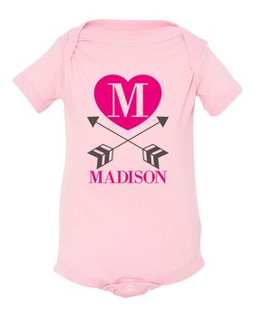 Personalized Straight & True Arrow Baby Shirt Pink | Heart and Arrow Baby Onesie