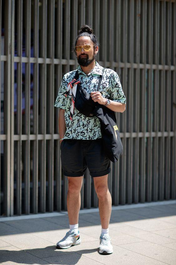 海外メンズ柄シャツコーデPrints Were Out in Full Force at Milan Fashion Week SS19
