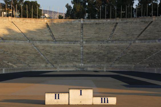 Le stade en marbre de Panathinaikon, qui a accueilli les premiers Jeux olympiques modernes en 1896 et qui a aussi été utilisé pour les épreuves de tir à l'arc et pour l'arrivée du marathon lors des Jeux d'Athènes en 2004, le 29 juillet 2014.