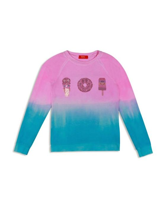 Butter Girls' Dip Dyed Sugar Rush Embellished Fleece Pullover - Sizes S-xl