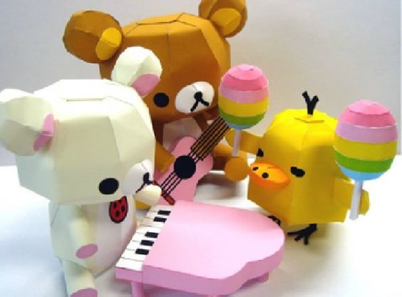 $3.27 One Set Bear With Music Design 3D DIY Papermodel Model Puzzle Toy Papercraft Toy Figures children day | Wholeport.com