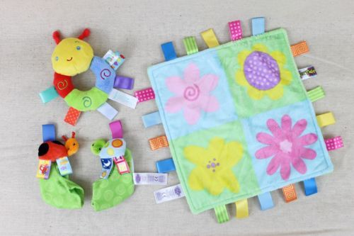 TAGGIES-Lot-Baby-Lovey-Security-Blanket-Bright-Flowers-Booties-Bug-Rattle