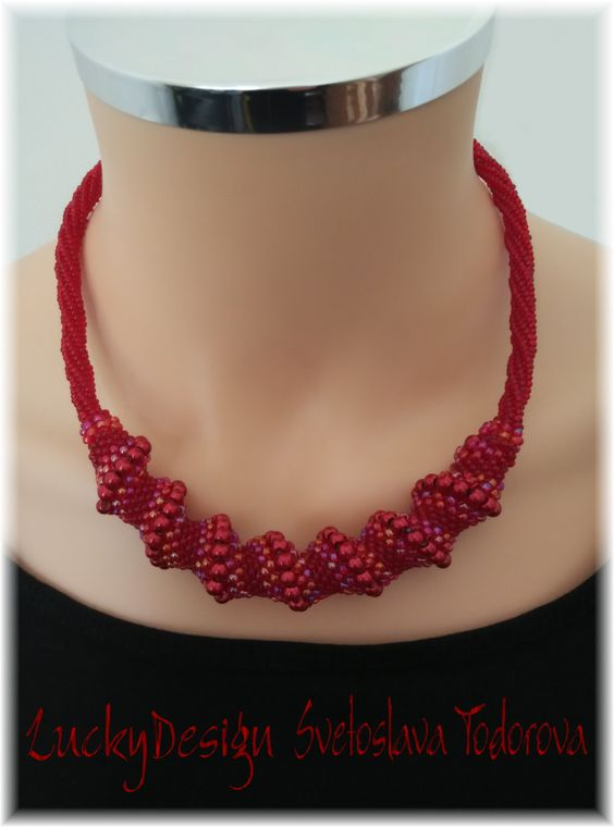"""Handmade Collar Necklace """"Red Fantasy"""" by LuckyDesignCrafts on Etsy"""