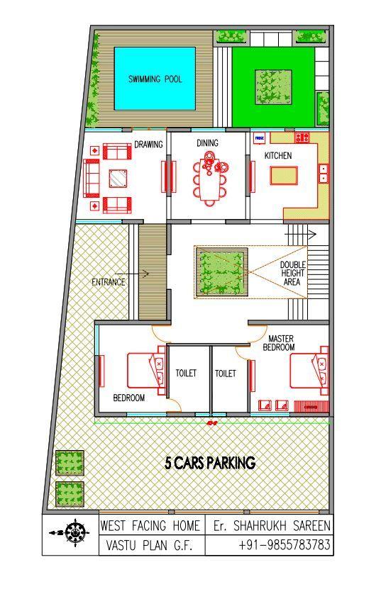 West Facing Villa Vastu Plan With Swimming Pool Internal