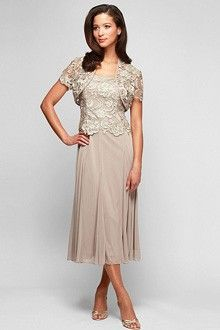 Sheath/Column Square Tea-length Lace Mother of the Bride Dress ...