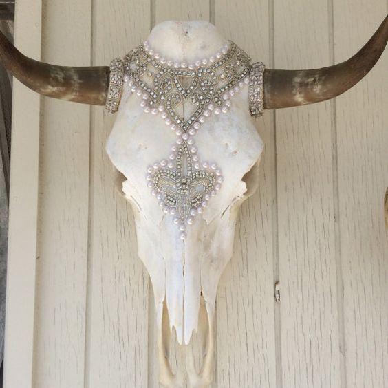 Bedazzled Cow Skull Mary Queen of Scots by mokaluv1234 on Etsy