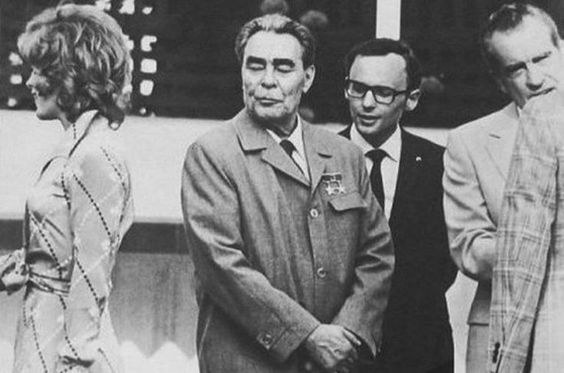 Leonid Brezhnev, Richard Nixon and Jill St John (Bond girl in Diamonds Are Forever)