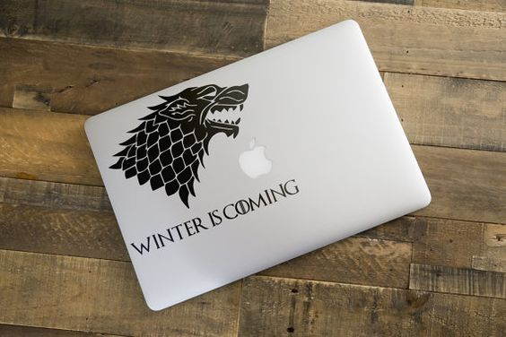 Winter is Coming from Game of Thrones Decal Sticker for Apple Macbook and other Laptops | Lannister House of Stark jon snow wolf direwolf by BrutalVisual