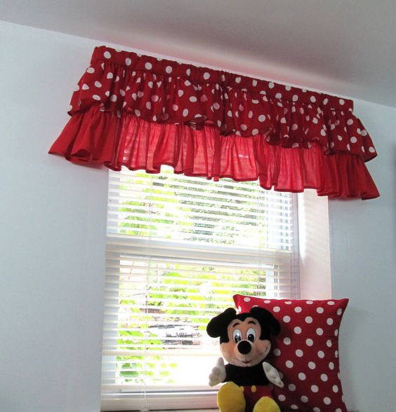 Two Tiered Ruffled Curtain Valance Nursery Kids Red