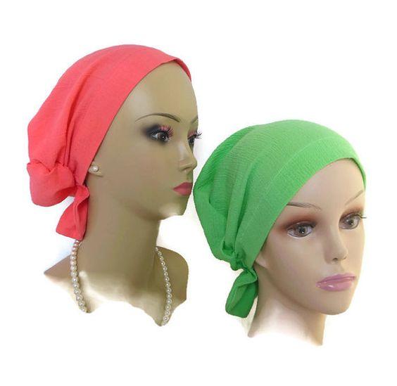 Hair Snood: Green or Coral Gauze Turban |Volumizer Chemo Headwear | Cancer…