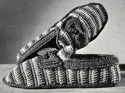 Striped Slippers crochet pattern originally published by Coats & Clark, Book 141, in 1963.