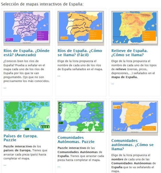 Mapa interactivo fsico de Espaa Editorial Anaya  4 Primaria