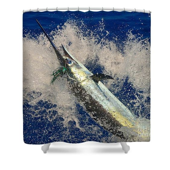 Blue Shower Curtain featuring the photograph Blue Marlin On The Hook by Jennifer Capo