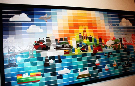 Paint chip mural (via Apartment Therapy Family).  So cool!