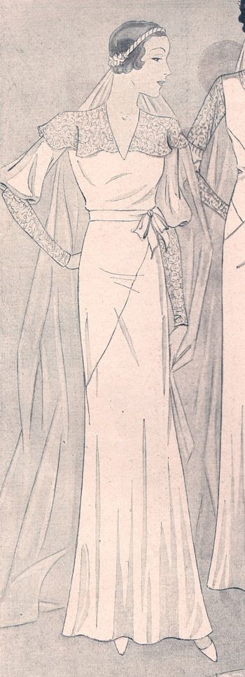 Vobach 70073; 1932/33; Bridal dress for a youthful bride. The shoulder collar and the sleeve extensions are worked in lace. Crepe georgette as the base fabric particularly suits a bride.