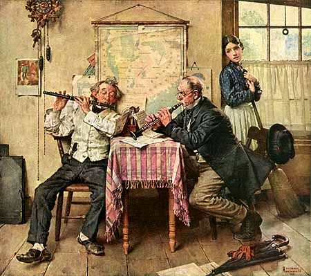 One of my favourites, Norman Rockwell, an illustrator that conveyed mood and atmosphere in a warm and innocent way. Love almost all of his work.