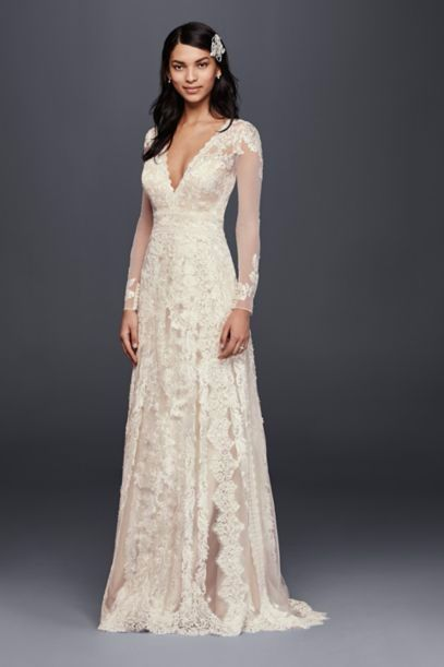 Ultra Romantic All Over Lace Long Sleeve Wedding Dress With A Deep V Neckline