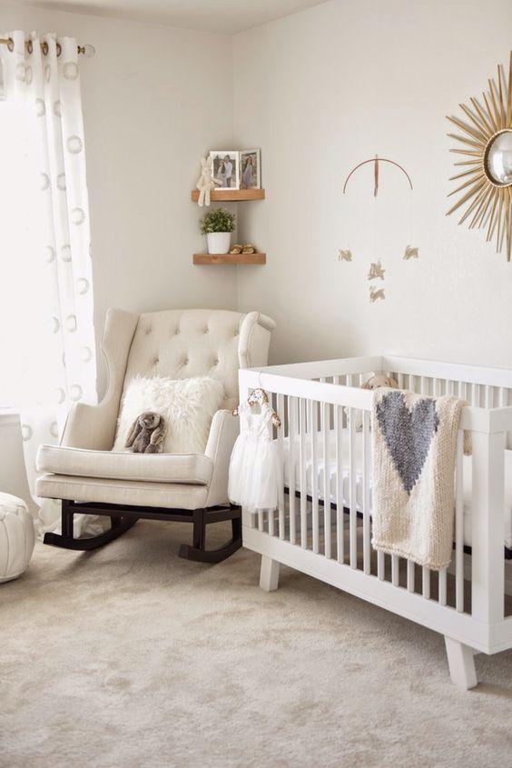Neutral Baby Girl Nursery: Simple Bunny Themed Nursery.