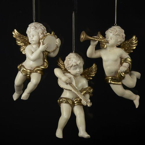 Pack Of 6 Cherub Angel Playing Musical Instrument