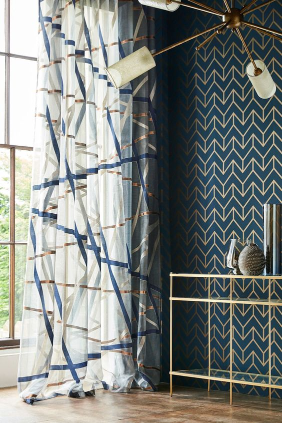 Stunning Tessellation wallpaper design by Harlequin in marine blue and copper.
