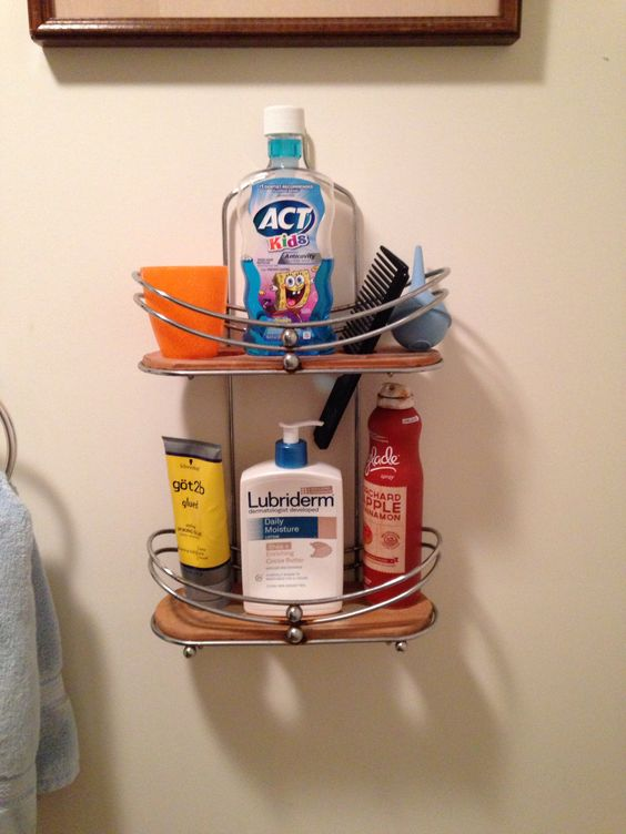 Old shower caddy now used for my sons bathroom
