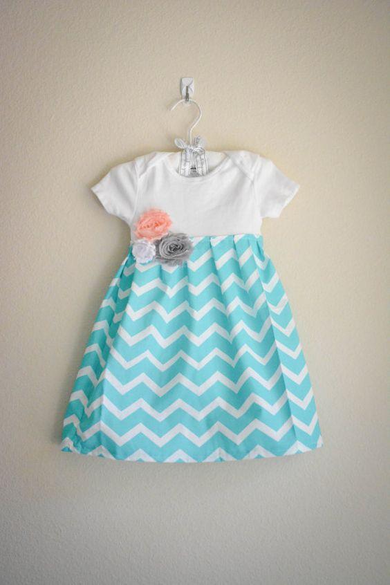 Dresses aqua infants chevron gray clothing fabrics babies dresses