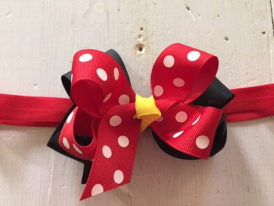 Minnie Mouse Bow Headband, Minnie Mouse-Inspired Hair Bow Headband, Mickey Mouse Birthday Headband, Red, Yellow, and Black Headband