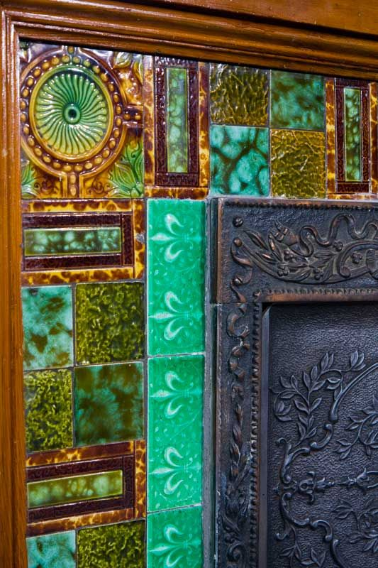 Colorful Antique Tile Fireplace Surround From An 1892 Victorian In British Co