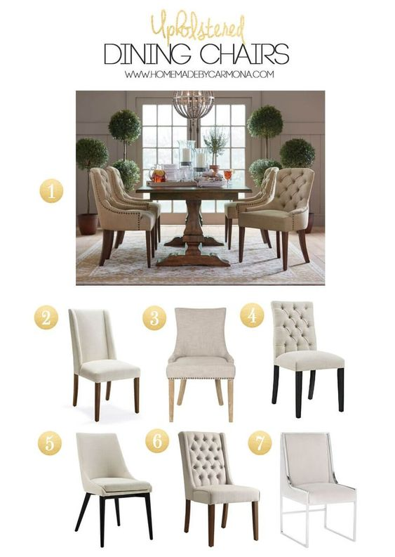 Stylish upholstered dining room chair options | Home Made by Carmona #diningroomchairs #upholstered #chairs #armchairs