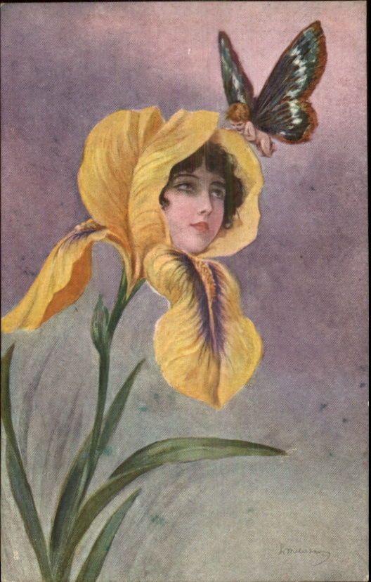 Pretty lady vintage postcard Italy signed artist C1910 Interesting Art