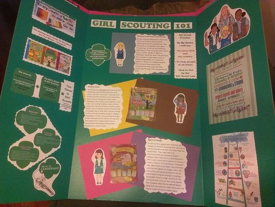 "Green Fold out Presentation Board with all basic Girl Scouting info on it- Entitled ""Girl Scout 101""   Has info and graphics on Keys to Leadership; Girl's Guides & Journeys; Promise/Law; Basic Program Info on Daisies, Brownies, & Juniors; and the Ladder of Success!"