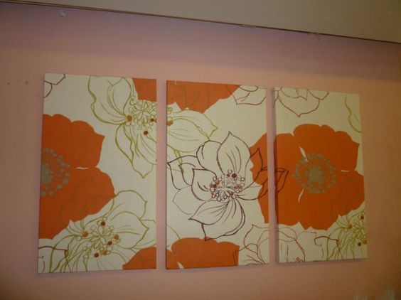 Large Fabric Wall Art Orange Brown Green Funky by WickedWalls, $70.00