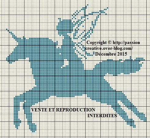 Grille gratuite point de croix f e et licorne bleue le - Grille gratuite point de croix bavoir ...