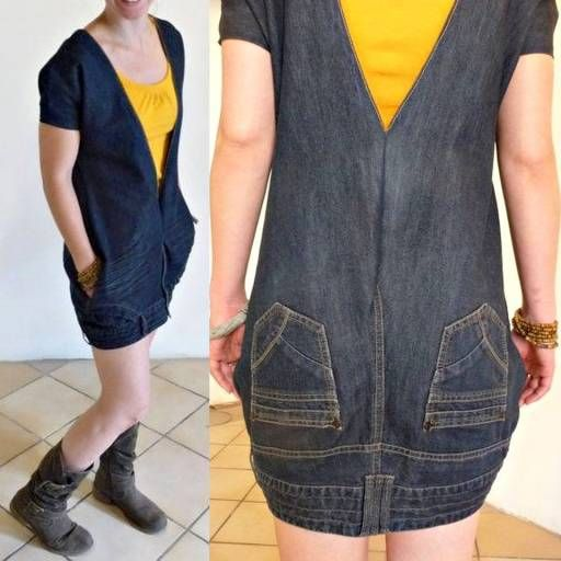 How-To-Turn-Old-Jeans-Into-A-DIY-Dress. Pinning because that is creative as hell. I might try it with slacks with no back pockets....