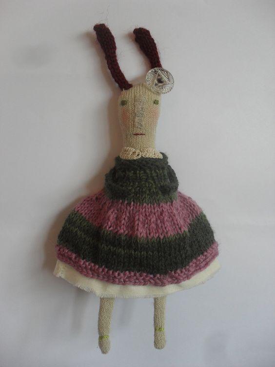 Betty - Folk art rabbit doll