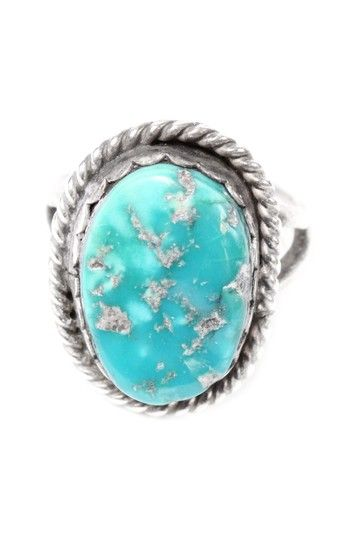 *VINTAGE* STERLING SIVER & TURQUOISE RING.